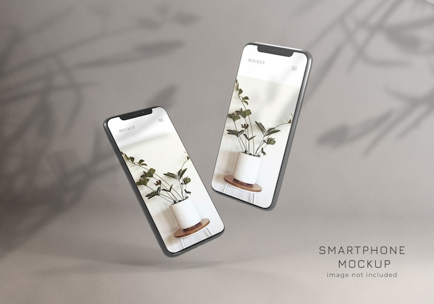 Floating minimalist smartphone mockup design