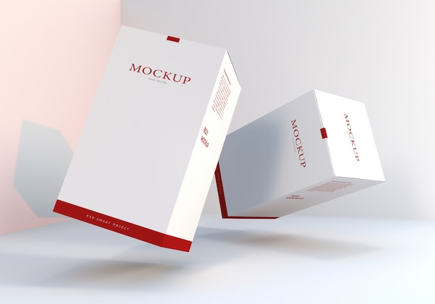 Floating packaging box mockups design