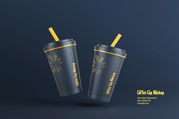 Floating paper coffee cup mockup design