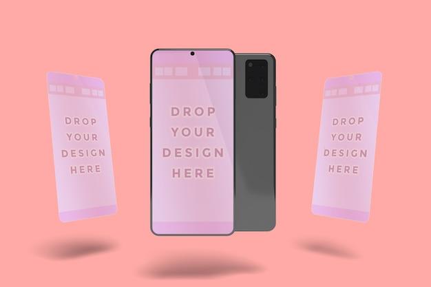Floating smartphone bildschirm modell isoliert