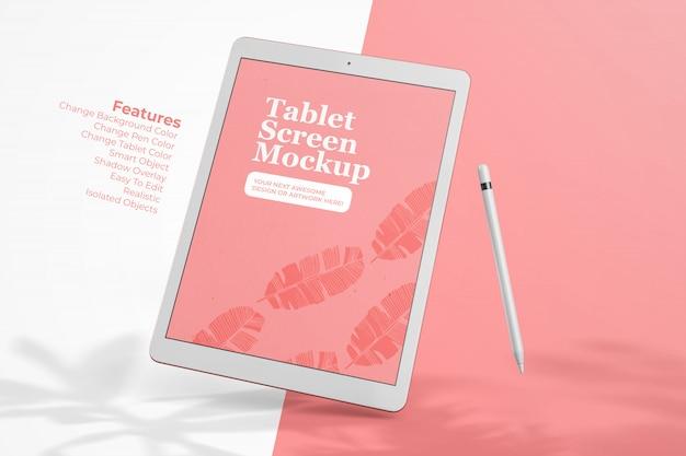 Floating tablet pad pro 12,9 zoll mit bleistift bildschirm premium mock up