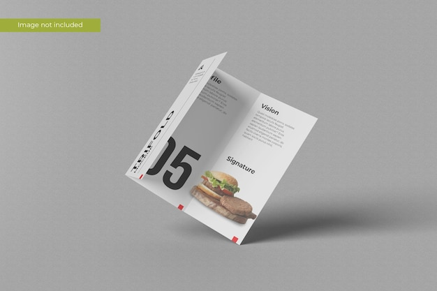 Floating trifold brochure mockup