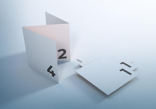 Floating trifold leaflet broschüre mockup design Premium PSD