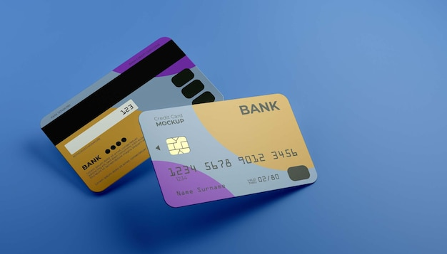 Floating zwei kreditkarten-mock-up