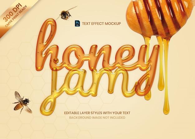 Flüssige honigmarmelade-texteffektdruckvorlage