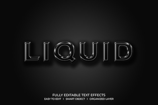 Flüssiger 3d-textstil-effekt
