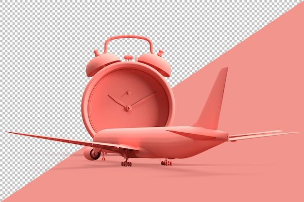 Flugzeug und wecker als reisekonzept