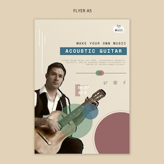 Flyer-design für akustikgitarrenunterricht