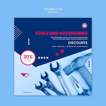 Flyer-design mit mechanischem thema