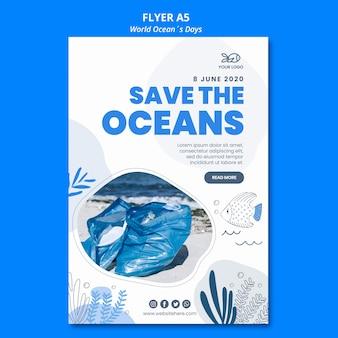 Flyer design welt ozean tag