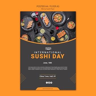 Flyer für den internationalen sushi-tag