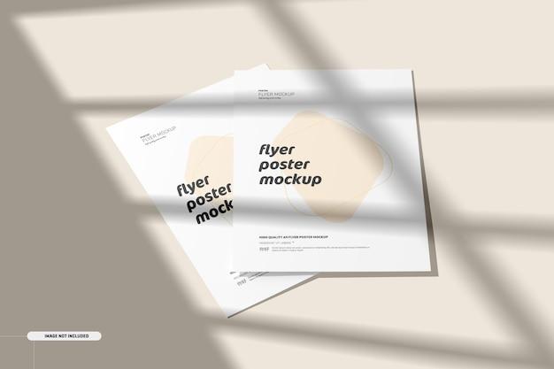 Flyer-modell mit schatten-overlay