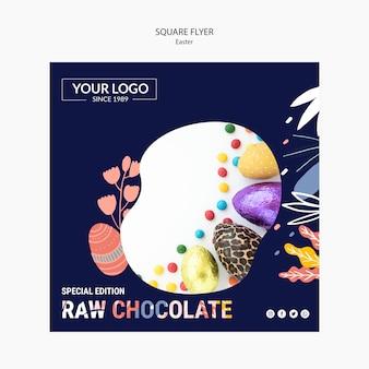 Flyer-schablonendesign mit dunkler schokolade für ostern