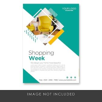 Flyer shooping week möbel vorlage