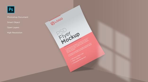 Flyer und poster in der ecke mockup design