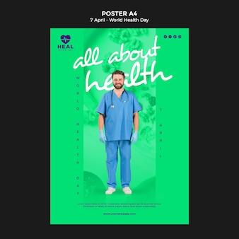 Flyer-vorlage des kreativen weltgesundheitstages mit foto
