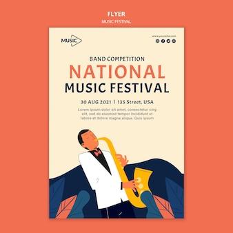 Flyer-vorlage des nationalen musikfestivals