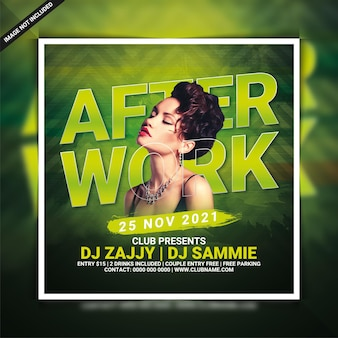 Flyer-vorlage für after-work-club-party oder social-media-post
