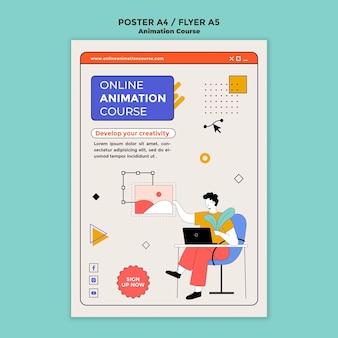 Flyer-vorlage für animationskurse