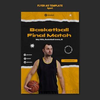 Flyer vorlage für basketballspiel mit männlichem spieler
