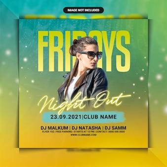 Flyer-vorlage für clubpartys am freitagabend