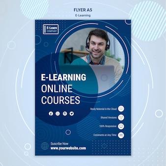 Flyer-vorlage für das e-learning-konzept