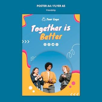 Flyer-vorlage für das freundschaftskonzept