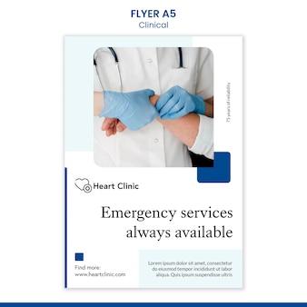 Flyer-vorlage für das gesundheitswesen mit foto