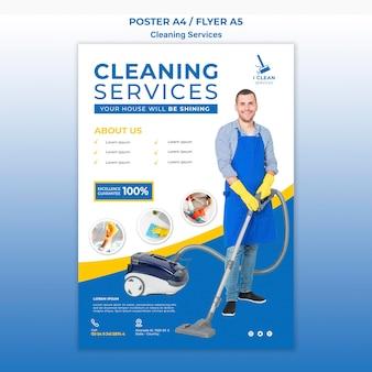 Flyer-vorlage für das reinigungsservice-konzept