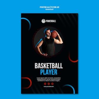 Flyer-vorlage für das spielen des basketballspiels