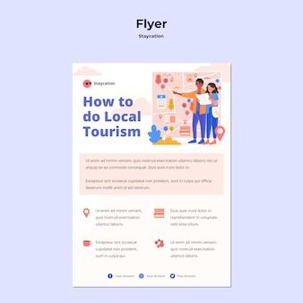 Flyer-vorlage für das staycation-konzept