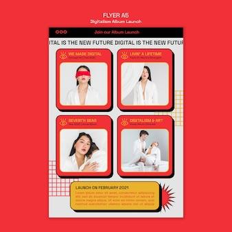 Flyer-vorlage für den start des digitalismus-albums