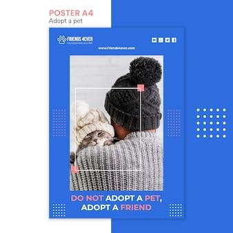 Flyer vorlage für die adoption eines haustieres mit katze