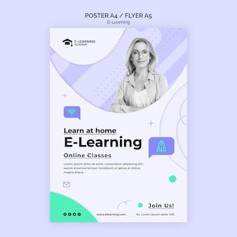 Flyer-vorlage für die e-learning-plattform