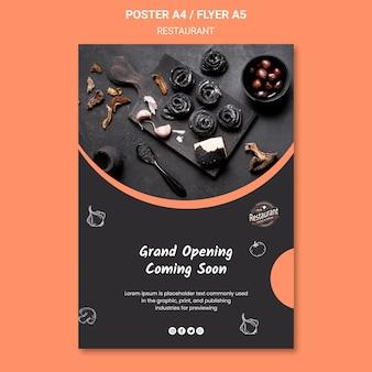 Flyer-vorlage für die eröffnung des restaurants