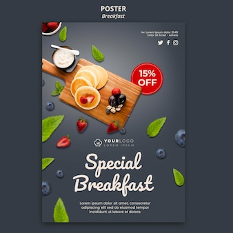 Flyer-vorlage für die frühstückszeit