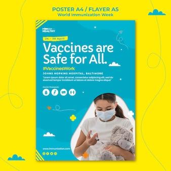 Flyer-vorlage für die weltimmunisierungswoche