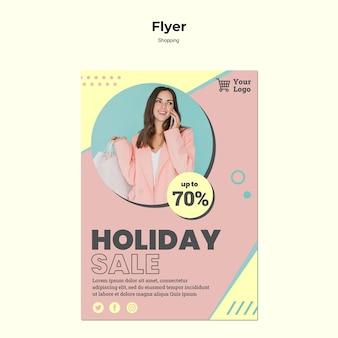 Flyer-vorlage für einkaufsferienverkauf