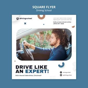 Flyer vorlage für fahrschule im quadrat