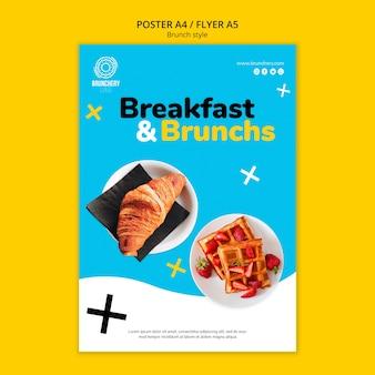 Flyer-vorlage für frühstück und brunch