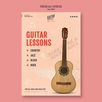 Flyer-vorlage für gitarrenunterricht