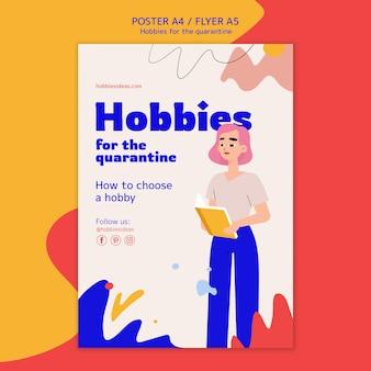 Flyer vorlage für hobbys während der quarantäne