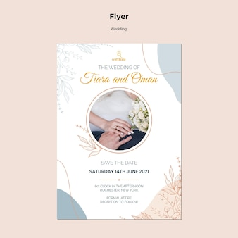 Flyer vorlage für hochzeitszeremonie mit braut und bräutigam
