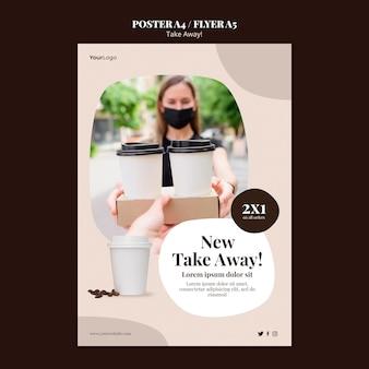 Flyer vorlage für kaffee zum mitnehmen