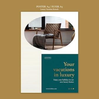 Flyer vorlage für luxus-ferienwohnungen