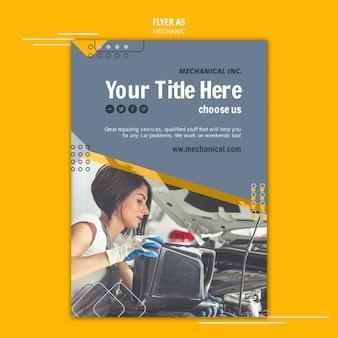 Flyer-vorlage für mechanikerunterstützung