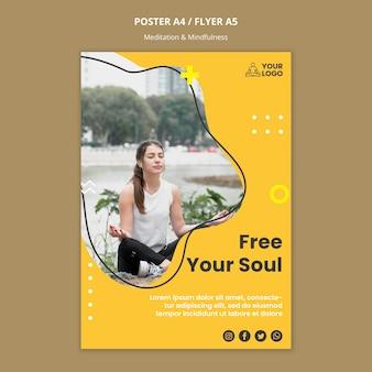 Flyer-vorlage für meditation und achtsamkeit