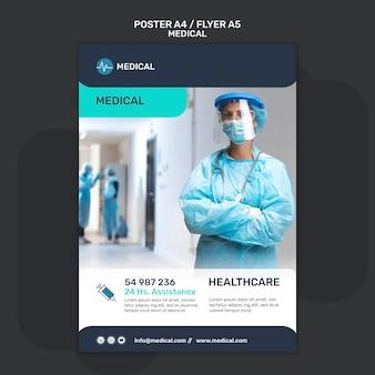 Flyer-vorlage für medizinische hilfe