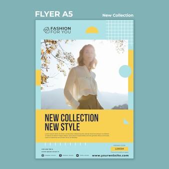 Flyer vorlage für modekollektion mit frau in der natur