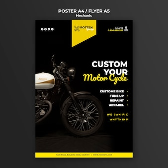 Flyer vorlage für motorradwerkstatt